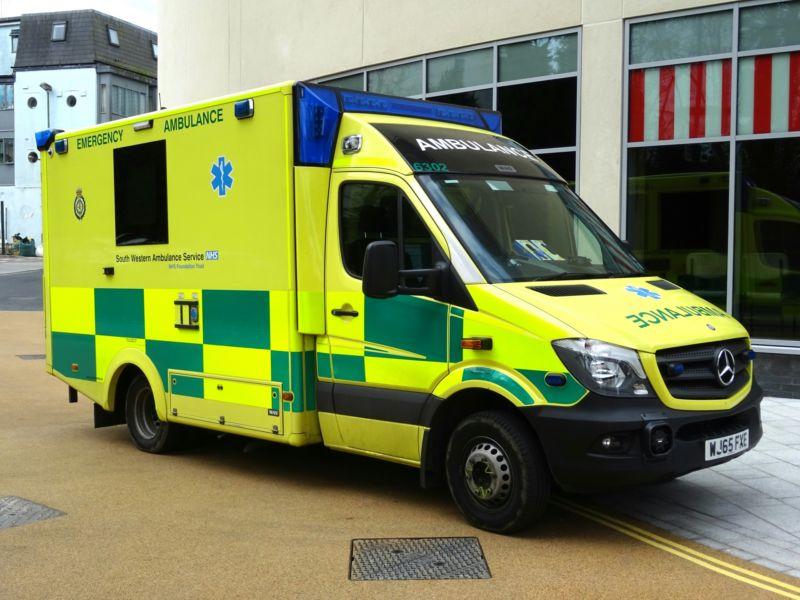 A photo of a UK ambulance
